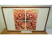 Large picture: Series 4x canvas-like floral photo prints on white painted wood based fibre board
