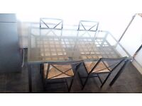 Metal dinning table + 4 chairs