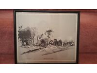 Peter Wagon framed limited edition print of Willen church 1980