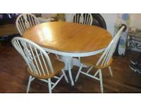 Shabby chic round extendable table and 4 chairs