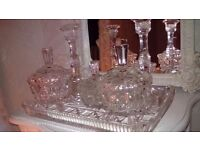Vintage glass dressing table set