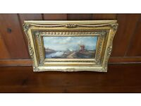 dutch painting in ornate gold swept frame