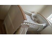 Cosatto solid wood baby cot / junior bed with sprung mattress and accessories