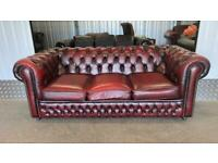 Stunning oxblood 3 seater leather chesterfield sofa £495