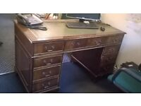ANTIQUE STYLE WRITING/OFFICE DESK, GREEN LEATHER TOP