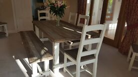 Wood Dining Table with 4 Chairs and Bench, can seat 9 people. Console Table & Lamp Table