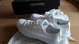 Genuine, brand new in box, all white Converse, uk3