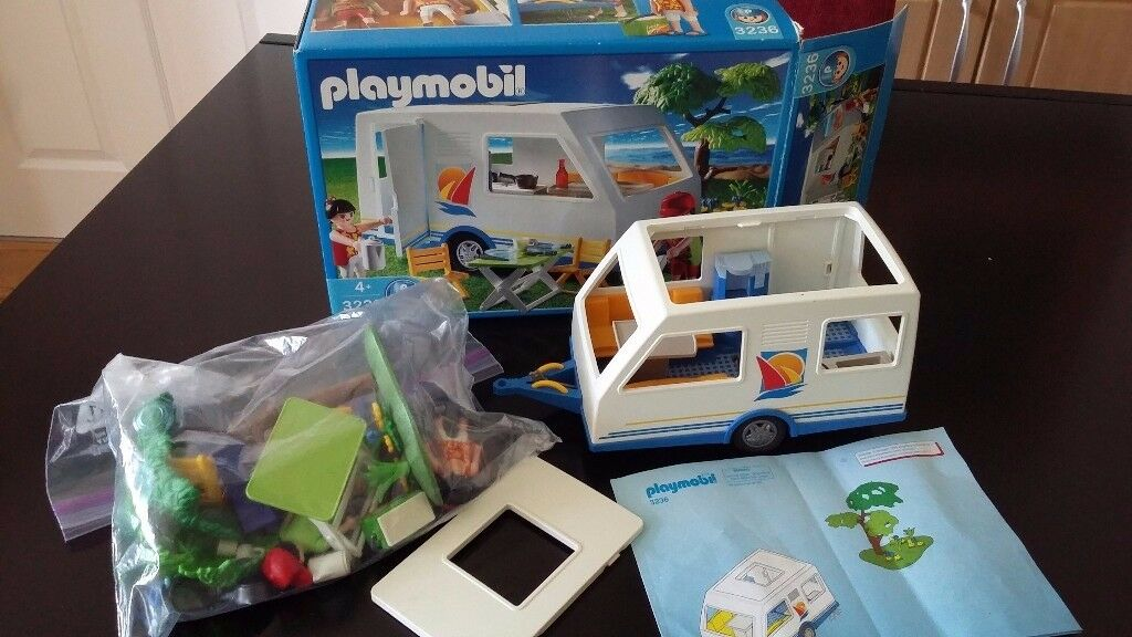 Playmobil caravan 3236 and car 3237 with box and instructions.