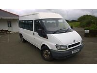 ford transit mini bus 2002 registration, 2.4 lt turbo diesel , 225,000 miles, new mot