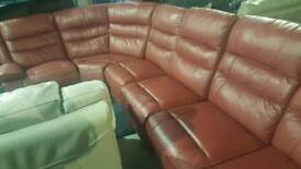 Red 6 pieces real leather reclining corner sofa
