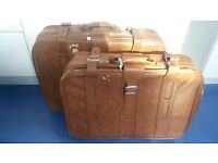 Two brown leather suitcases (1980s retro)