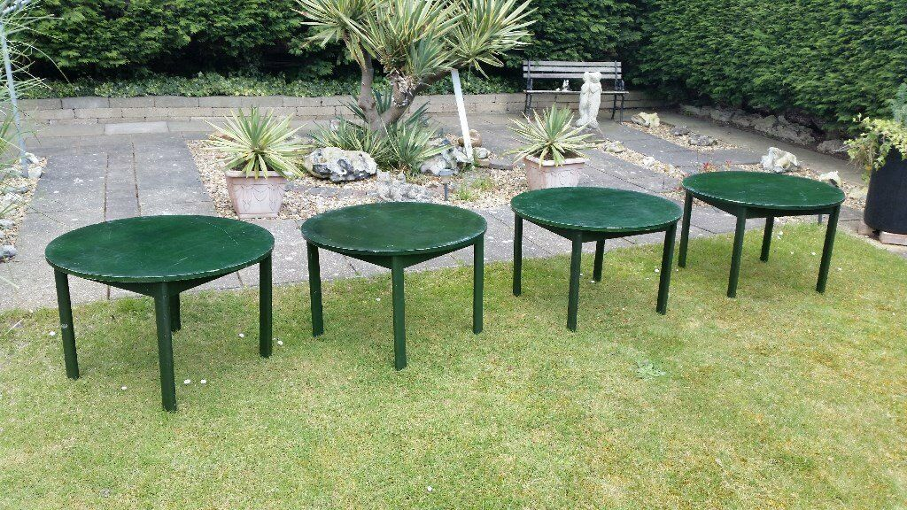 4 WOODEN GREEN CIRCULAR PARKER KNOLL TABLES