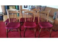 6 Wooden Dining / Kitchen Chairs - oak vintage chairs with dark red velvet seat covers