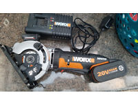 WORX WX523 20V- 4.0Ah WORXSAW - Cordless Circular Saw,BODY,1 BATTERY and CHARGER,mint condition
