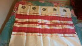 Pink and cream eyelet curtains
