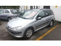 PEUGEOT 206 SW ( ESTATE ) 1.4cc , CHEAPER INS AND TAX , FULL MOT , £1295