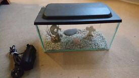 Fish tank with pump and accessories