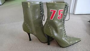 Olive green heel boots