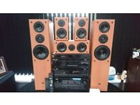 DENON HIFI SEPARATES, DOLBY HOME ENTERTAINMENT SURROUND SOUND SYSTEM, X2 REMOTE,X5 SPEAKERS