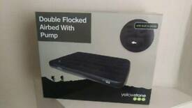 Double flocked airbed with pump