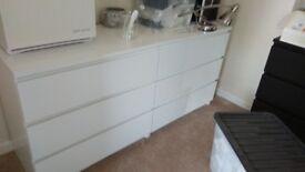 2 white IKEA drawers and 1 black