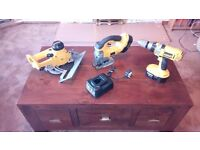 Dewalt 18v cordless tool set, Jig saw/Circular saw/Comb.Drill/batteries & charger, see photos&detail