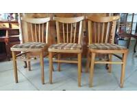 Set Of 3 Vintage Kitchen Chairs In Good Vintage Condition