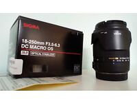 Sigma 18-250mm F/3.5-6.3 DC OS HSM Lens for Canon - Boxed & Excellent Condition
