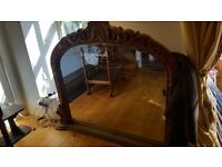 Large oak mantel mirror