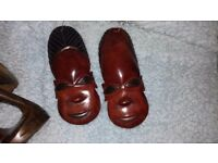 3 x African masks from Zambia, Africa