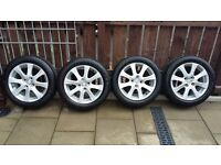 ALLOY WHEELS AND TYRES FOR MAZDA 2 OR FORD FIESTA 185/55 x 15 SET OF 4.
