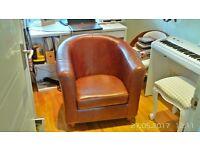 Genuine leather tub rocket chair, armchair, vintage brown, top quality