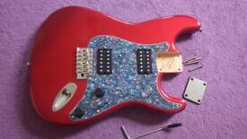 Candy Apple Red (Metallic) STRAT Guitar body fully loaded.