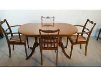 Regency Style Extendable Dining Table and Four Chairs