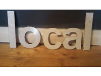 Vintage Retro Reclaimed Salvage Shop Letters Pub Sign Industrial Local L O C A L White