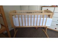 Mothercare Swinging Crib with mattress and bumper