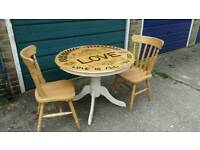 Unique Pine Round Shabby Chic Dining Kitchen Table with 2 Chairs