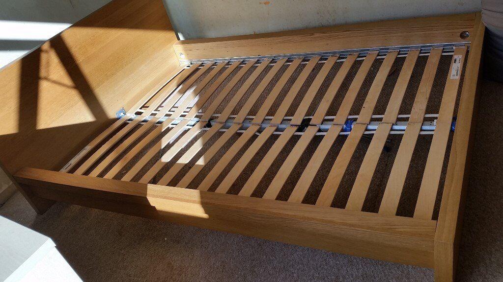 Ikea Light Wood Finish Double Bed Frame.