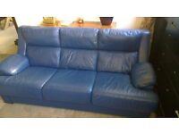 Leather Sofa -3 seater , Blue