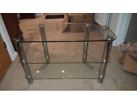 Glass And Chrome TV Stand - Excellent Condition. 80cm (Wide) x 40c (Deep) x 50cm (Tall)
