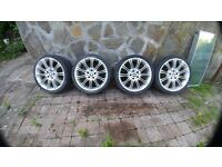 BMW mv2 replica alloy wheels with tyres - one wheel is damaged