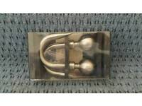 BRAND NEW Silver metal curtain hold backs