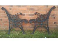 Vintage cast iron garden bench seat ends plus table ends