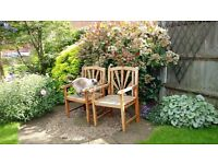 Two hard wood garden seats. Needs re-staining or painting.