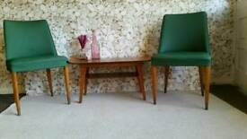 Gorgeous retro mid century pair of chairs with original upholstery ONO