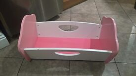 Baby doll toy crib cot bed used wooden cupcake ELC
