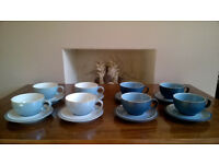 Denby Blue Jetty Cups and Saucers x8