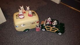 Sylvanian Caravan & Towing Car with Rabbit & Panda Families