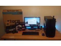 Gaming PC setup: AMD A10-7870K, 8GB DDR3, Radeon 7870, 500GB HDD, monitor, keyboard & mouse, BOXED