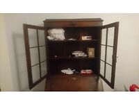 Writing bureau solid wood with glass panes and brass handles good condition